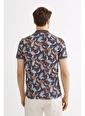 Avva Erkek  Polo Yakalı Baskılı Tişört A01Y1015 İndigo